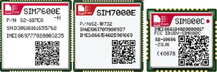 SIMCom modules SIM7600E-H SIM7000E SIM800C